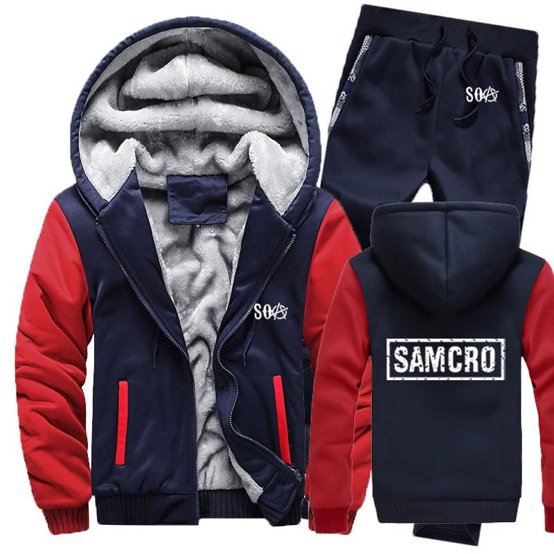 SOA Sons Of Anarchy Hoodies Mens Suit Winter Fleece Thicken Warm Zipper Sweatshirt SAMCRO Mens Hoodies Jacket +Pants 2Pcs Sets