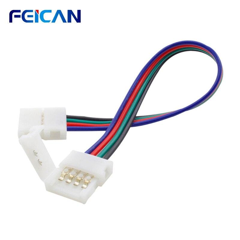 4-контактный RGB светодиодный светильник, соединительный кабель, 10 шт. в упаковке, светодиодный светильник s-образной формы, 10 мм, удлинитель д...