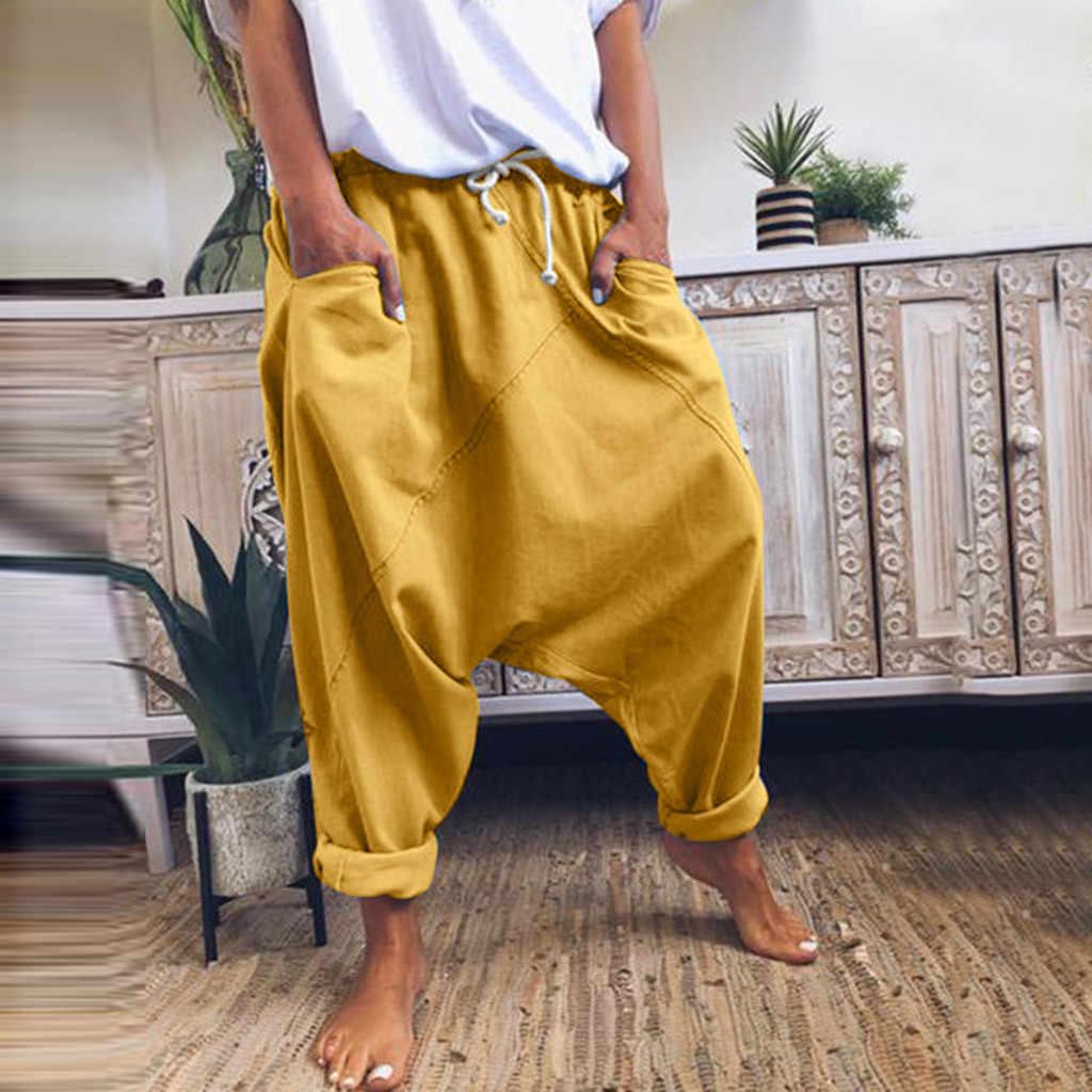 Moda Harem pantolon kadın rahat Hip Hop gevşek pantolon cep ile katı renk Vintage Joggers geniş bacak pantolon kadın 2020 kapriler