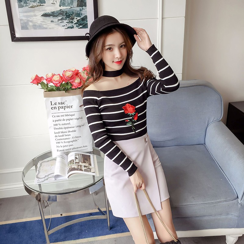 Womens Slash Neck Striped Sweaters Embroidery Flower Pullovers Slim Long Sleeve Jumpers Rk