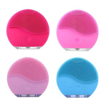 Silicone Electric Facial Cleansing Brush Vibration Face Massage Deep Cleanser Blackhead Remover Pore Cleaner  Beauty Instrument suction black equipment cleansing instrument home to facial cleanser special oval head multi functional beauty tool set hot sale