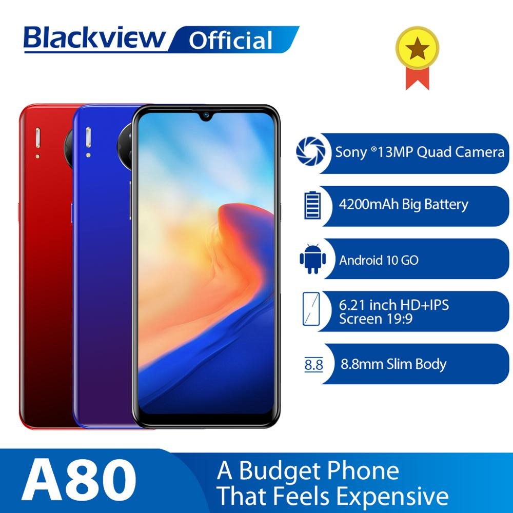 Blackview A80 Quad Rear Camera Android 10.0 Go Mobile Phone 6.21' Waterdrop HD Screen 2GB+16GB Cellphone 4200mAh 4G Smartphone(China)