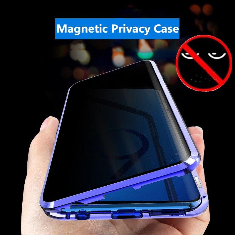 Privacidad magnético para Samsung Galaxy A50 A70 Nota 10 8 9 S8 S9 S10 Plus de adsorción de doble cara de carcasas de vidrio templado