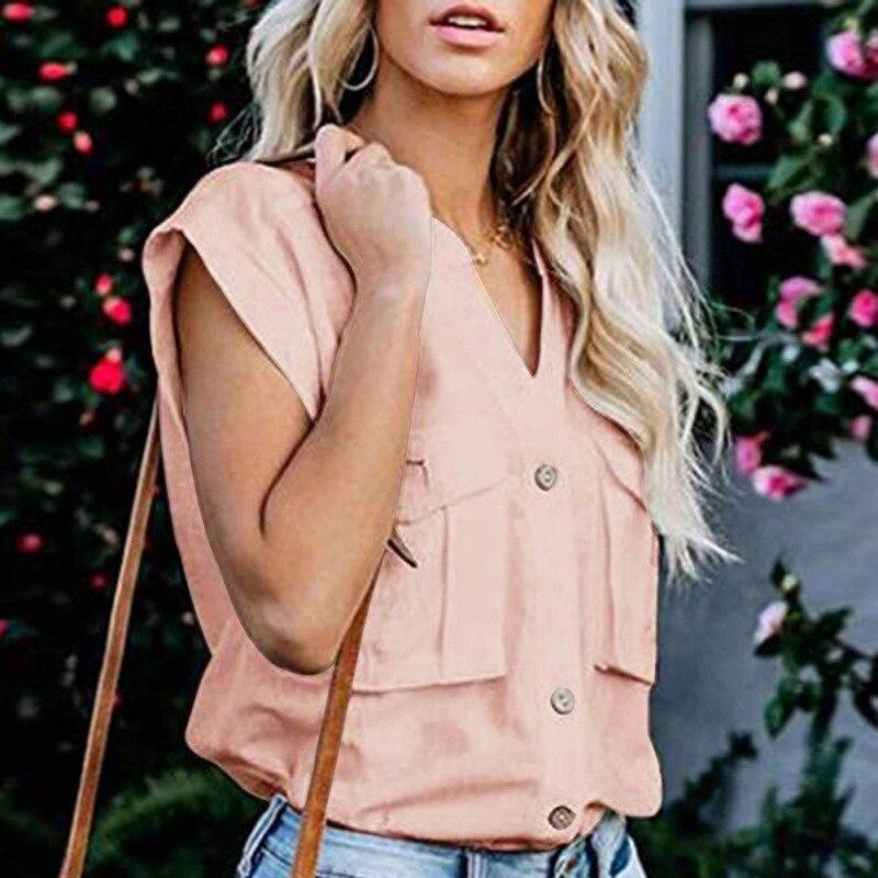 2019 casual blusa feminina gola manga curta camisa simples cor sólida único breasted blusas verão mujer de moda