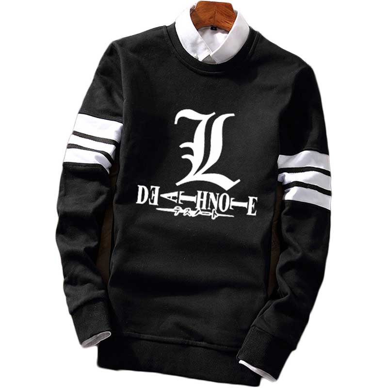 Fashion Striped Pullover Sweatshirt Death Note Guilty Crown Fleece Casual Jersey Contrast Color Full Sleeve Sweat Shirt Top Coat image