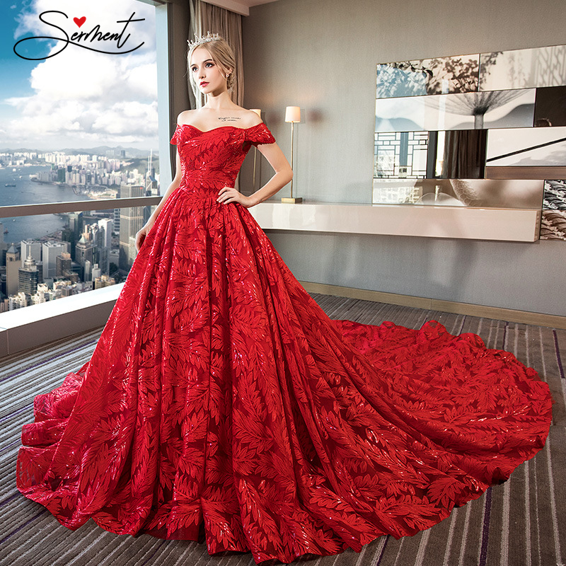 SERMENT Wedding Red Feather Luxury Pattern Exclusive Design One Word Shoulder Lace Handmade Large Pregnant Women Wedding Dress