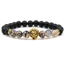 High Quality Natural Stone Lion Head Charm Bracelet Fashion Jewelry Female Round Beads Elasticity Rope Bracelets Men For Women