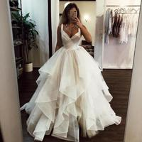 Elegant A Line Wedding Dresses Ruffles V Neck Princess Wedding Gowns Sweep Train Custom Made Sexy Backless Bride Bridal Gowns