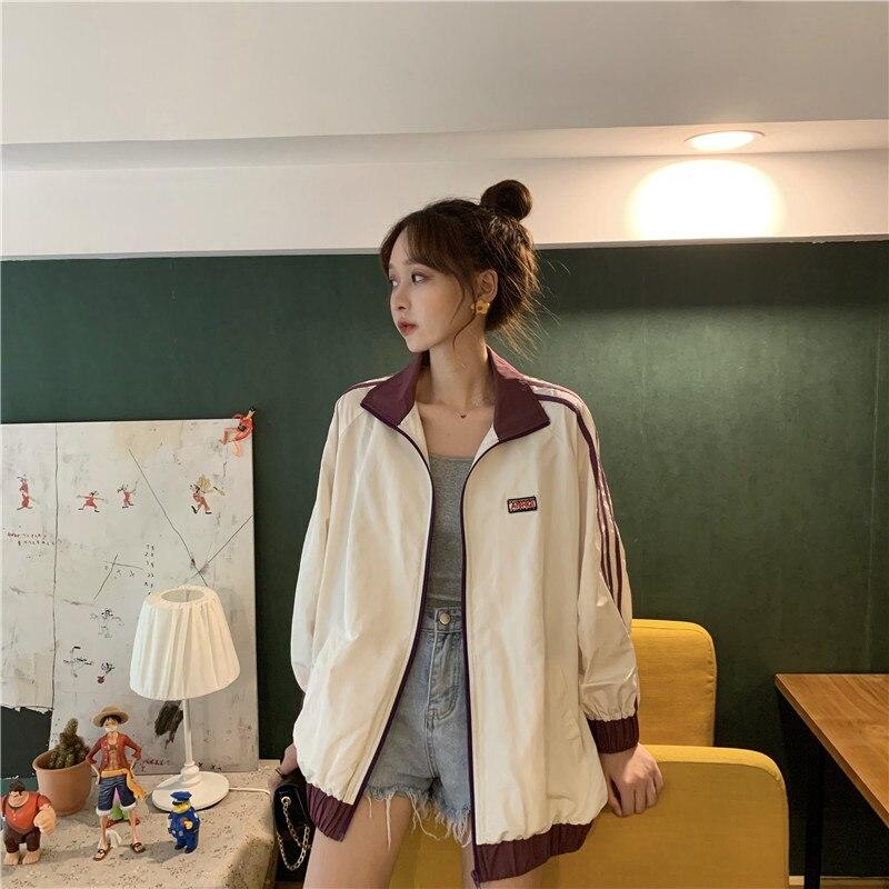 Autumn BF Bomber Coats and Jackets Loose Hip Hop Jackets For Women Long Sleeves Windbreaker Harajuku Jackets Women Zipper Jacket