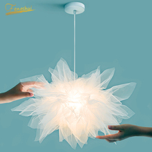 Modern LED Pendant Lamp Lighting Fixtures Rural Lighting Flower Yarn Romantic Princess Room Lamp Home Decor Bedroom Hanging Lamp