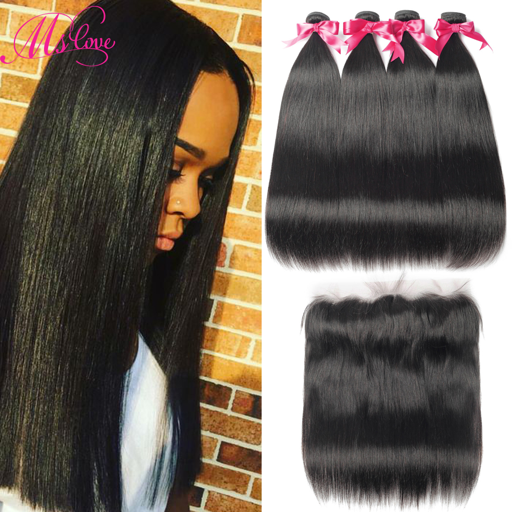 Ms Love Straight Hair Bundles With Frontal Closure Brazilian Hair Weave Bundles Non Remy Human Hair Bundles With Closure