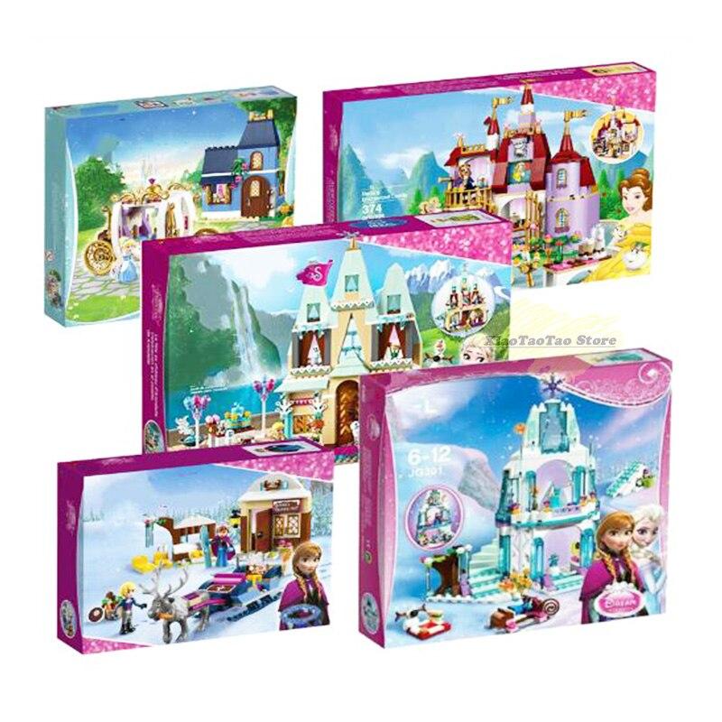 Elsa Anna Snow Queen Figures Dress Up Kristoff Sleigh Adventure Building Block Toys Compatible legoingly Girl Friends Princess