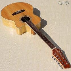 Solid spruce hout top 12 snarige akoestische gitaar 40 inch hoogglans natuurlijke kleur flame maple achter-en zijkant folk gitaar