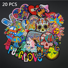 20Pcs/Lot Skull Patches for Clothing Punk Love heart Patch Badges Iron On Stickers Cloth Patch Embroidered Decorative DIY Jacket embroidered patches medic skull tactical military patches paramedic decorative reflective medical cross embroidery badges