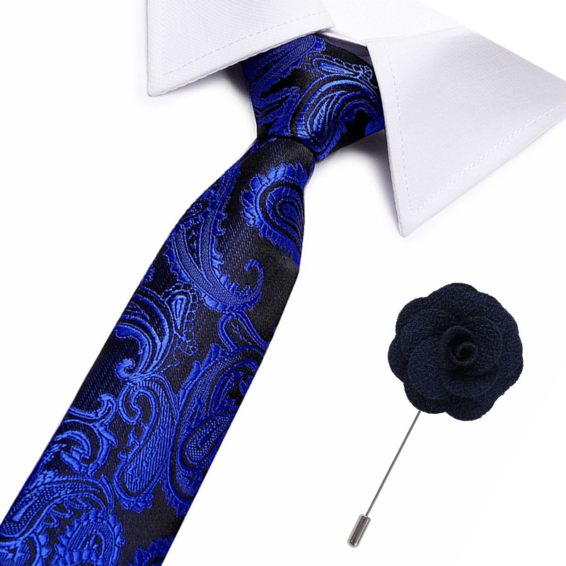 Fashion Top Quality Slim Tie 7.5cm Dark Blue Skinny Narrow Gravata Silk Jacquard Woven Neckties For Men Wedding Party Groom