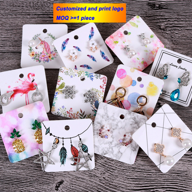 Paper 5x5cm Colored Earrings Display Cards Cardboard Earring Package Hang Tag Card for Ear Studs Earring Customized Logo image