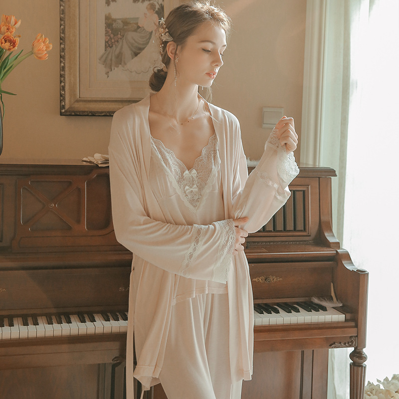 Pajamas Suit Ladies Sleepwear Spring Autumn Summer Pajamas Women Fashion Pink Modal Pyjamas 3pcs Long sleeve robe camisole