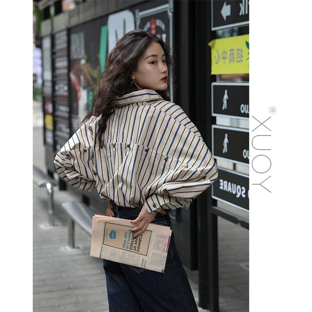 2020 New Blouse Women Casual Striped Top Shirts Blouses Female Loose Blusas Autumn Fall Casual Ladies Office Blouses Top Sexy 5
