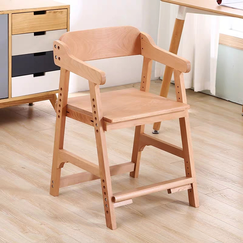 Solid Wood Children's Learning Chair Adjustable Backrest Writing Chair Home Elementary School Students Correct Sitting Desk Stoo