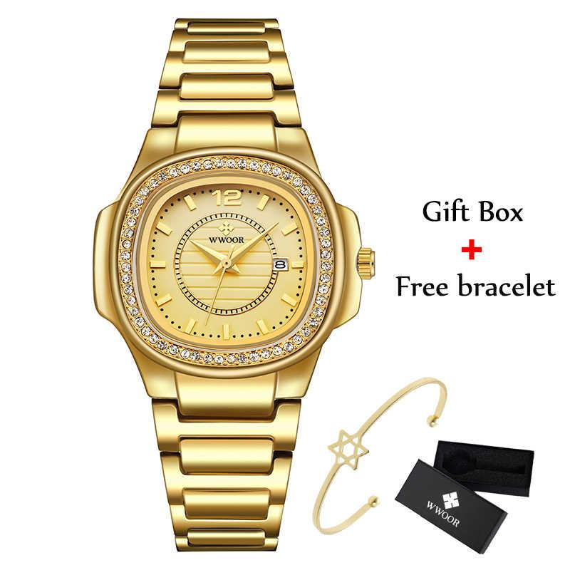 WWOOR אופנה עיצוב מלבן נשים שעונים 2020 יוקרה מותג יהלומים שעונים גבירותיי קוורץ תאריך זהב שעון מתנות לנשים Xfcs
