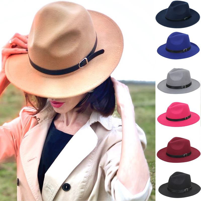 Womens Felt Hat Wide Brim Fedora Hat Imitation Woolen Classic Vintage British Lady Jazz Streetwear Felt Hats For Men шапка кепка