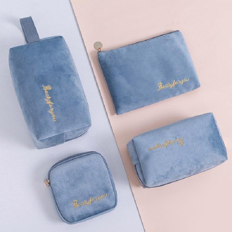 Velvet Candy Color Multifunction Travel Cosmetic Bag Women Makeup Bags Toiletries Organizer Storage Make Up Case Zipper Bag
