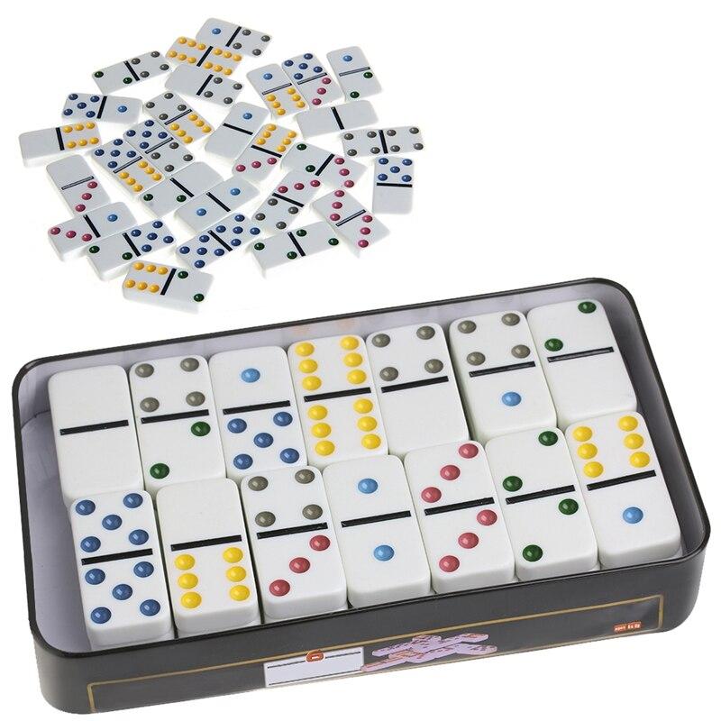 OOTDTY 1 шт. деревянная коробка домино игрушка игровой набор 28 двойной 6 путешествия домино для детей оптом, Прямая поставка