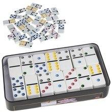 Ootdty 1pc de madeira dominó caixa brinquedo jogo conjunto 28 duplo 6 dominó viagem para crianças crianças atacado dropship