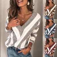 Women Winter Sweater 2019 Oversized Geometric V Neck Women Pullover Jumpers Causal Loose Long Sleeve Female Sweater Tops 5colors