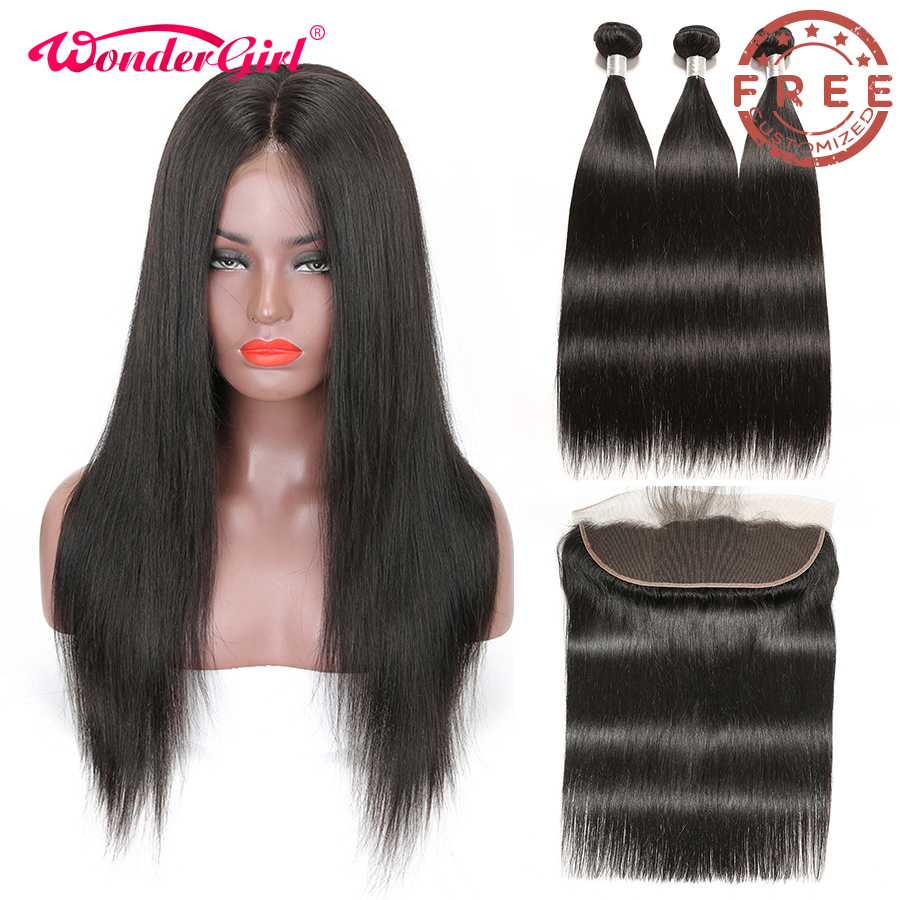 Free Customized 13x4 Straight Lace Front Wig Pre Plucked 300 Density By Remy Brazilian Straight Human Hair Bundles With Frontal