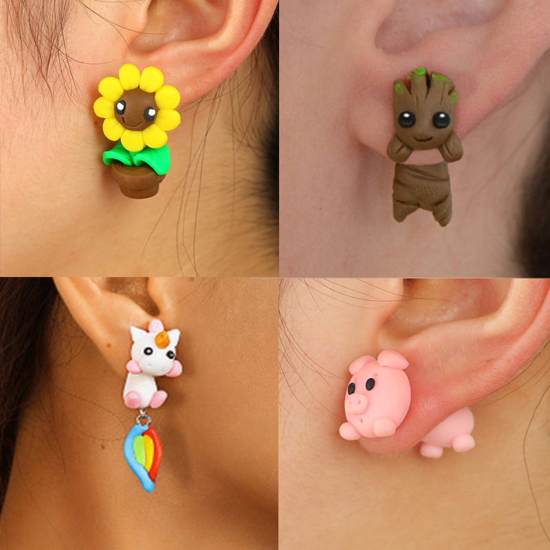 Cute Polymer Clay Animal Stud Earrings For Women Handmade 3D Cartoon Colorful Jewelry Lovely Flower Panda Pig Dog Cat Stitch