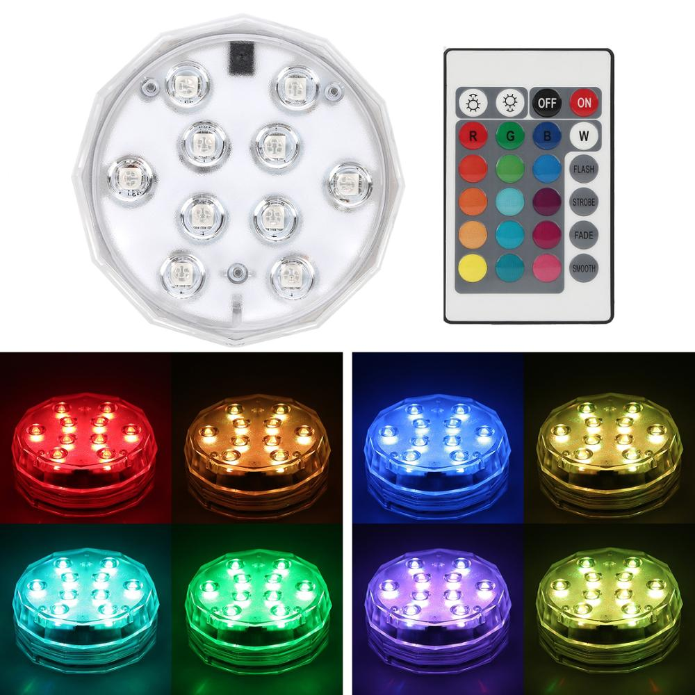 1 Piece 10 Led Remote Controlled RGB Pool Light Underwater Night Lamp Outdoor Vase Bowl Garden Party Decoration