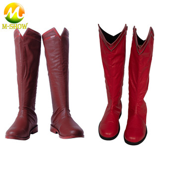 Superman Cosplay Shoes High Quality Red Faux Leather Boots Justice League for Adult Men Custom Made