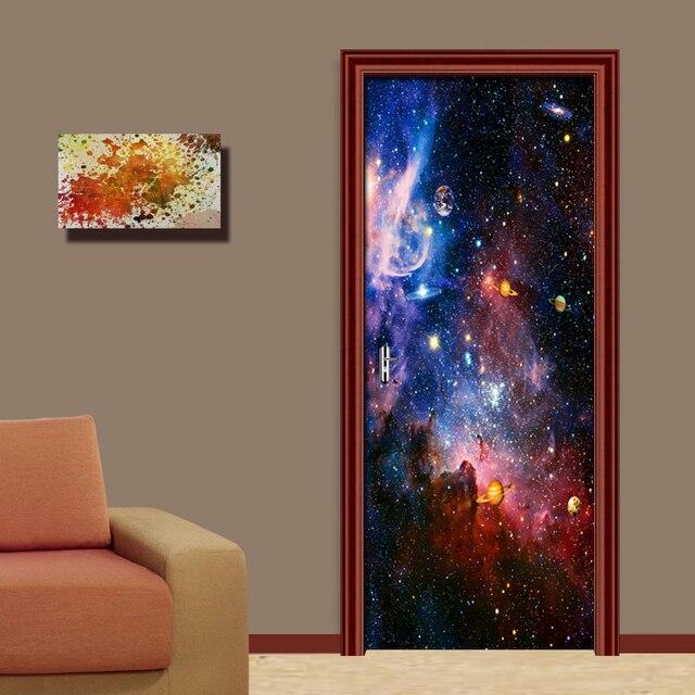 Фото наклейки на двери звездные водонепроницаемые 3d обои для гостиной
