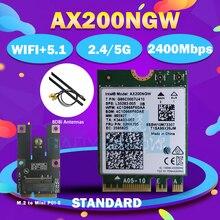 Çift bant 2400Mbps kablosuz AX200NGW NGFF M.2 Bluetooth 5.0 Wifi ağ kartı 2.4G/5G 802.11ac/ax Intel AX200
