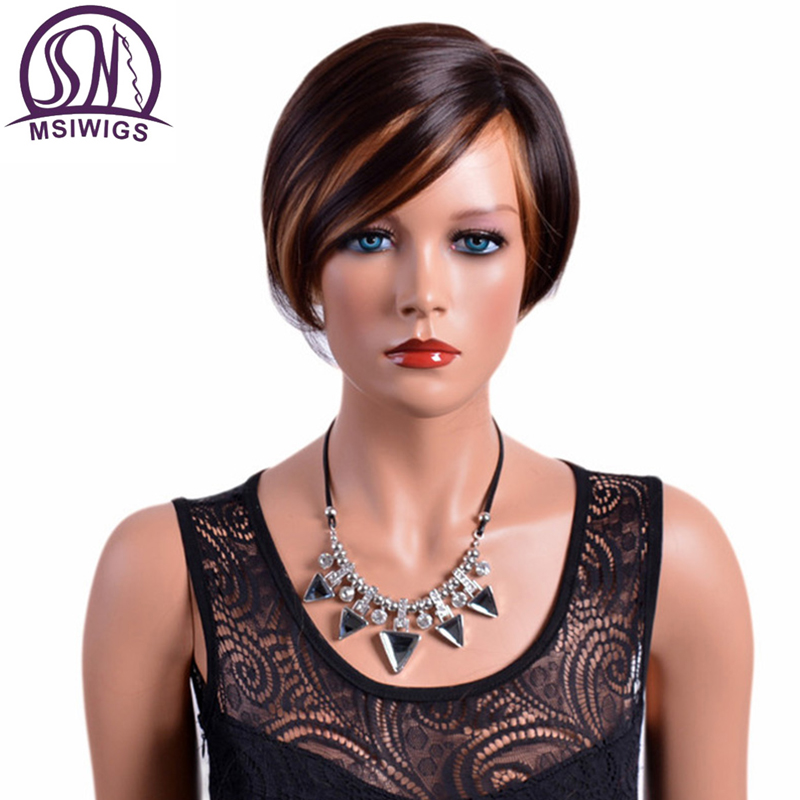 MSIWIGS Short Wigs with Bangs Synthetic Hair Women's Wig Brown Mixed Ombre Colour for White Women