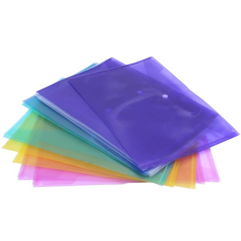 A4 Document Wallets Plastic Popper Buckle Folders Filing Paper Storage,Random Color 12pcs