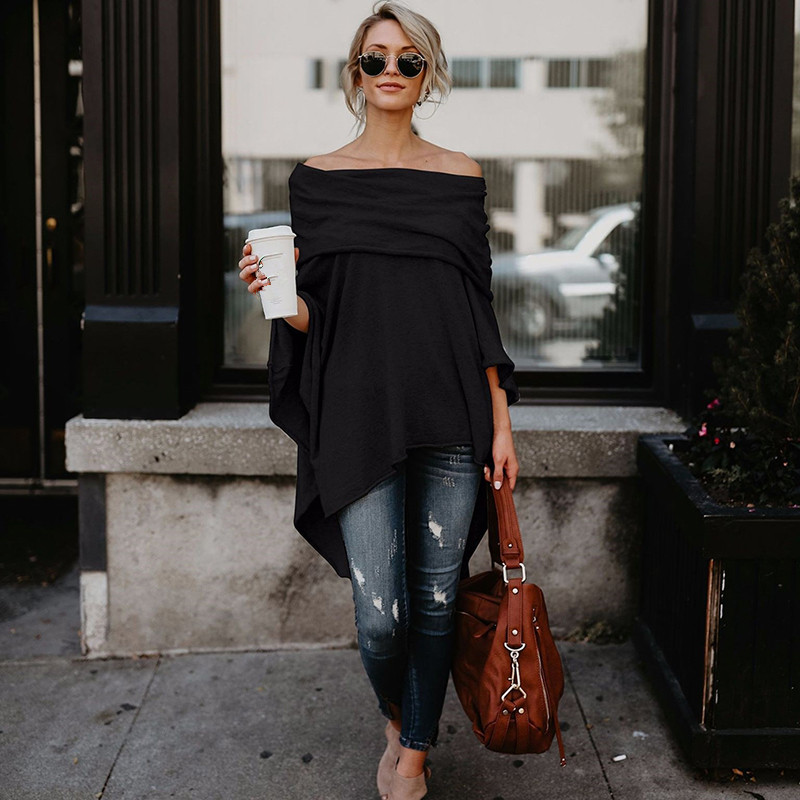 Hot Sale Pullover Blouse Off Shoulder Top Asymmetric Overlap Solid Poncho Womens Clothing Blusas 2019 Spring Fashion Ladies Top