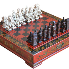 Wood Chess Chinese Retro Terracotta Warriors Chess Wood Do Old Carving Resin Chessman Christmas Birthday Premium Gift wholesale cheap new chinese retro chess set terracotta warriors classic large size chess 29 16 9 5cm