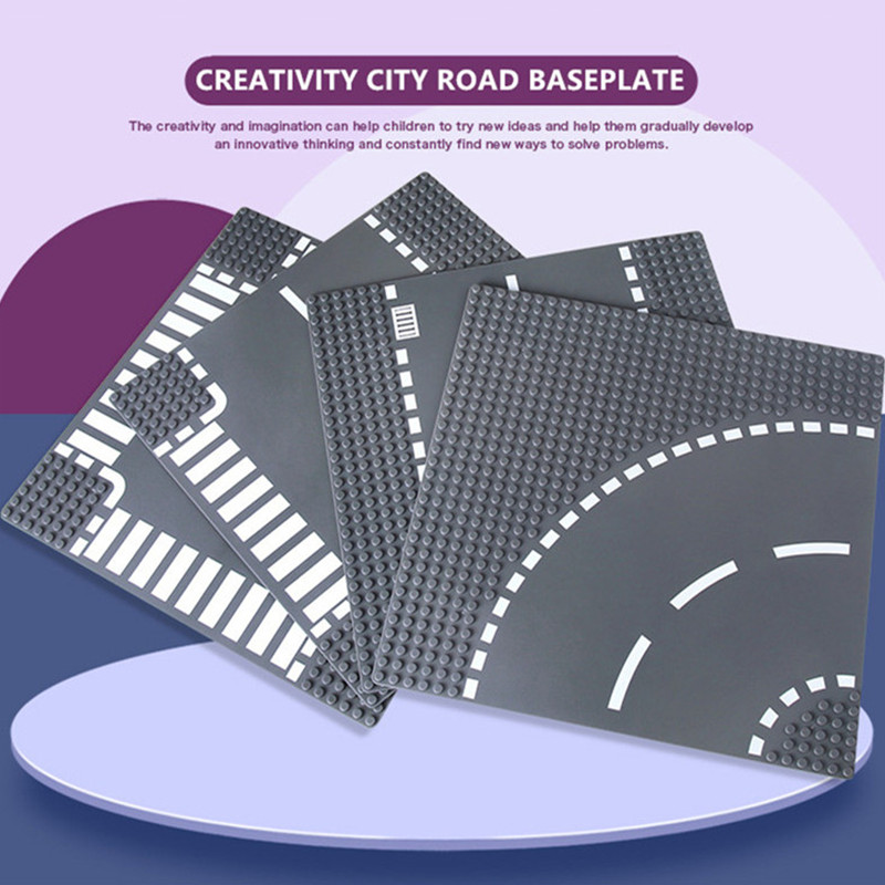 City Road Street Baseplate Straight Crossroad Curve Baseboard Building Blocks Sets Base Plate Brinquedos Bricks Educational Toys
