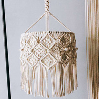 Bohemian Decor Macrame Tapestry Wall Hanging Hand woven Chandelier Lampshade House Model Room Coffee Restaurant Decoration
