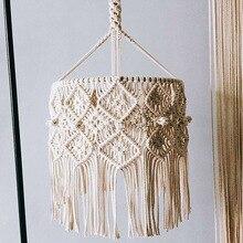 Boho Decor Macrame แขวนผนังแขวนโคมไฟระย้าโคมไฟ House ห้องพักร้านอาหาร Decor Wall Tapestry