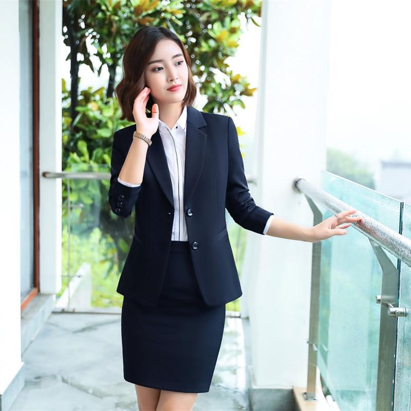 Female Elegant Women's Black Blue Skirt Suit Dress Blazer Costumes Jacket Outfit Suits Ladies Office Wear Uniforms 2 Piece Set