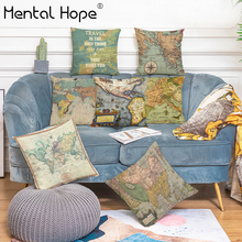 Colorful Map Printed Throw Pillow Cover Sofa Bed Linen Cotton World Map Pattern Cushion Cover Home Decor Squre Pillowcase retro world map pattern flax square shape pillowcase without pillow inner