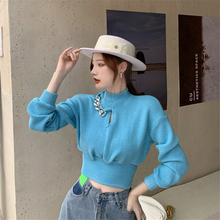 Sweater Women Half-high Collar Hollow with Chain Short Long-sleeved Base Knitted Tops 2020 New Winter Pure Color Cotton Sweater