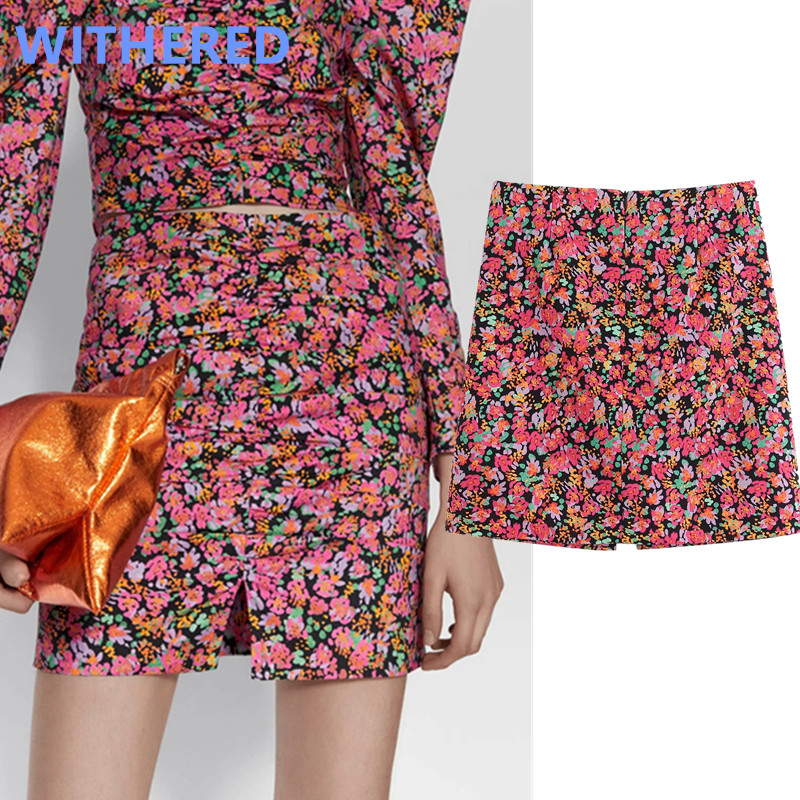 Withered England Style High Street Vintage Floral Print High Waist Summer Mini Skirt Women Faldas Mujer Moda 2020 Skirts Womens