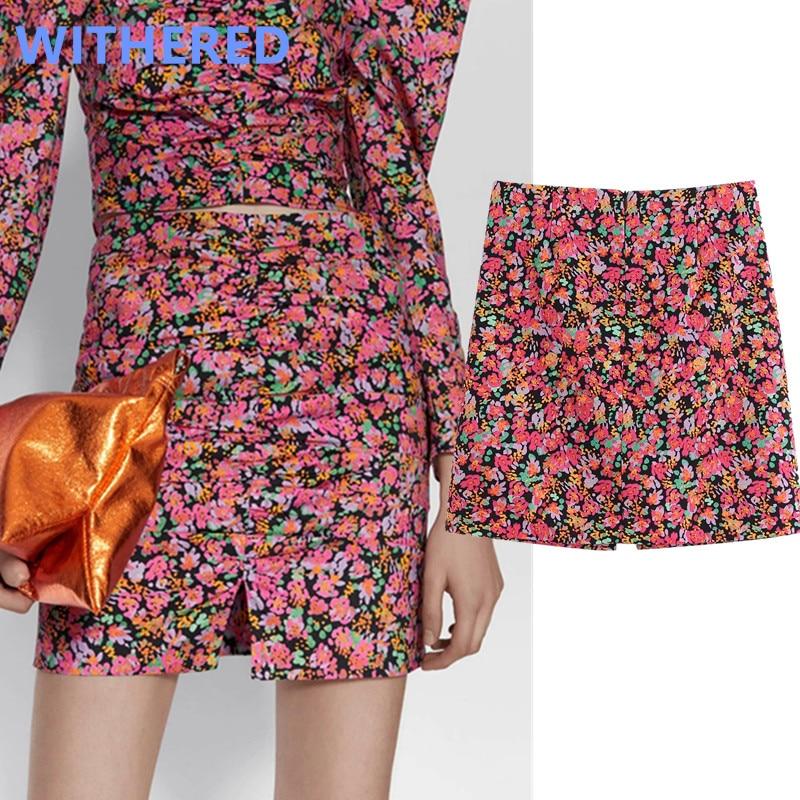 Withered England Style High Street Vintage Floral Print High Waist Summer Mini Skirt Women Faldas Mujer Moda 2020 Skirts Womens