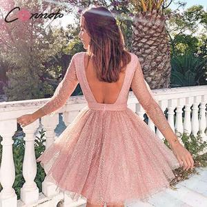 Image 3 - Conmoto 우아한 핑크 backless 여성 드레스 여성 2019 가을 겨울 높은 허리 드레스 패션 메쉬 스팽글 vestidos