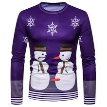 Miicoopie 2019 New Arrival Christmas Print Long Sleeve T-shirt