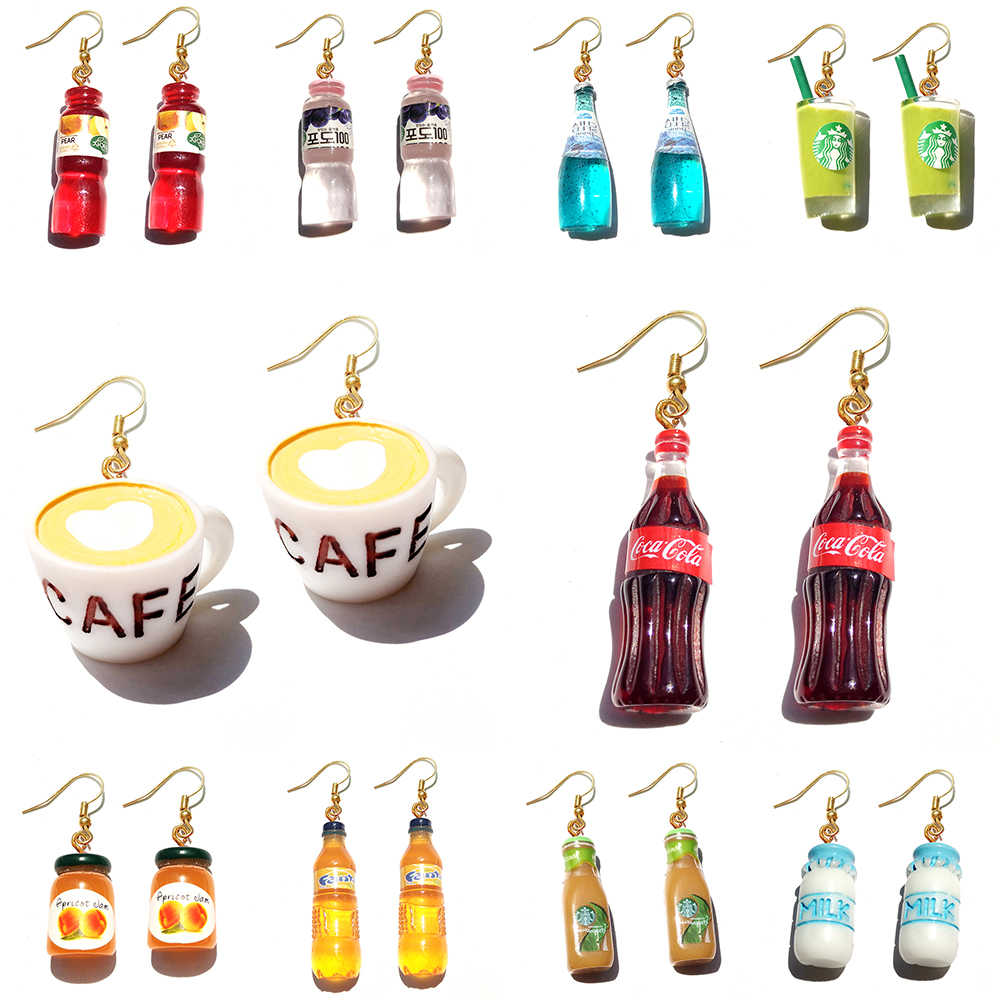 Earring For Women Resin Drop Custom Made Handmade Cute Girls Gift Eardrop Eardrop Coke Cola Coffee Drink Funny